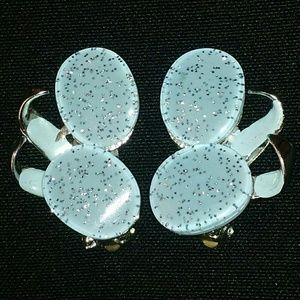 Jewelry - Glittery Blue Silvertone Winged Clip On Earrings